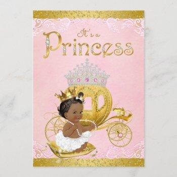 African American Pink Gold Princess Baby Shower