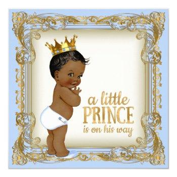 African American Prince Baby Shower Baby Blue Invitation