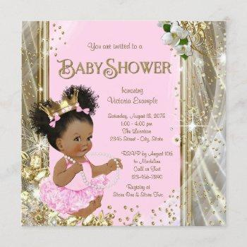 African American Princess Baby Shower Invitations