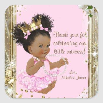 African American Princess Baby Shower Stickers