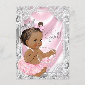 African American Princess Ethnic Girl Baby Shower Invitation