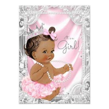 African American Princess Ethnic Girl Baby Shower Invitation