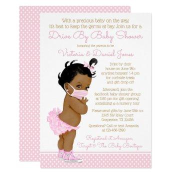 African Baby Girl With Mask Drive By Baby Shower Invitation