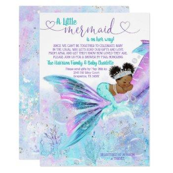 Afro Mermaid Mail Baby Shower Invitation