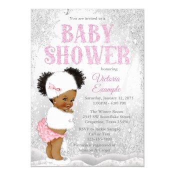 Afro Puff Girl Winter Wonderland Baby Shower Invitation