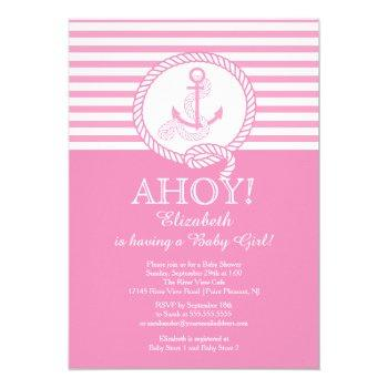Ahoy! A Girl Nautical Girls Baby Shower Invitation