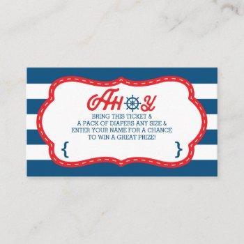 Ahoy Diaper Raffle Ticket, Nautical, Blue, Red Enclosure Card