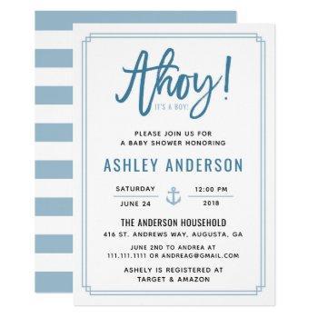 Ahoy! It's A Boy Anchor Baby Shower Invitation