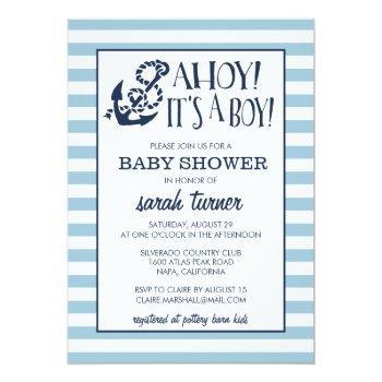 Ahoy, It's A Boy! Nautical Baby Shower Invitation