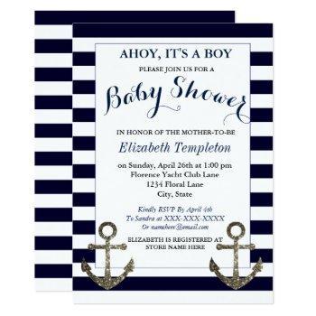 Ahoy It's A Boy Nautical Baby Shower Invitations