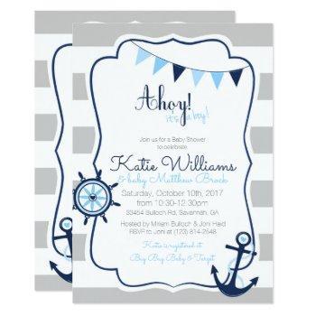 Ahoy Its A Boy Nautical Blue Gray Baby Shower Card
