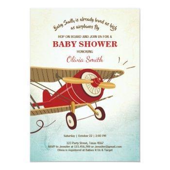 Airplane Baby Shower Invitation Travel Adventure