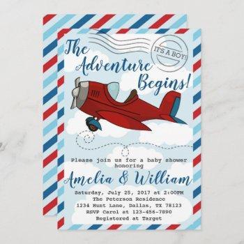 Airplane Plane Baby Shower Invitation Invite
