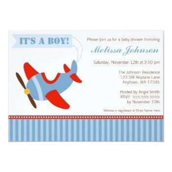 Airplane Stripes Red Blue Boy Baby Shower Invitation