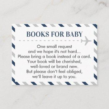 Airplane Travel Books For Baby Boy Shower Request Enclosure Card