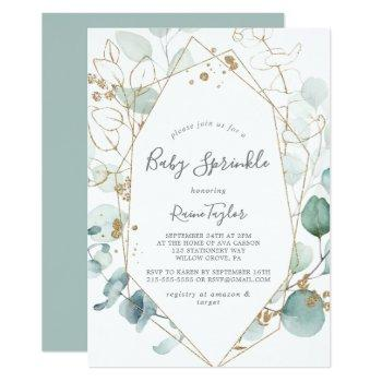 Airy Greenery And Gold Leaf Baby Sprinkle Invitation