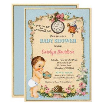 Alice In Wonderland Baby Boy Shower Blue Invitation