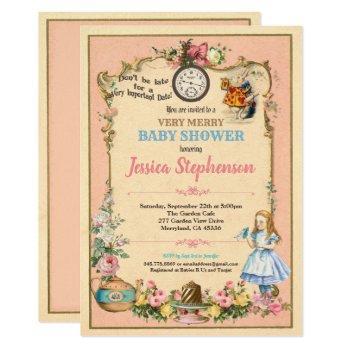 Alice In Wonderland Baby Shower Invitaion Pink Invitation