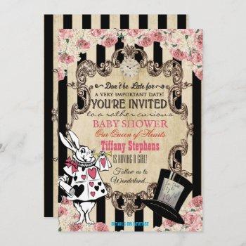 Alice in wonderland baby shower invitations Mad hatter baby shower invite Queen of hearts invitation Wonderland baby shower invites.