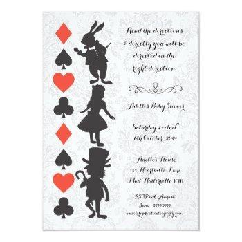 Alice In Wonderland Damask Baby Shower Invite
