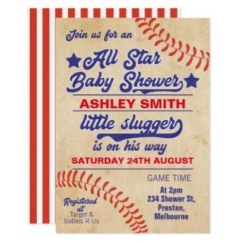 All Star Or Baseball Baby Shower Invitation