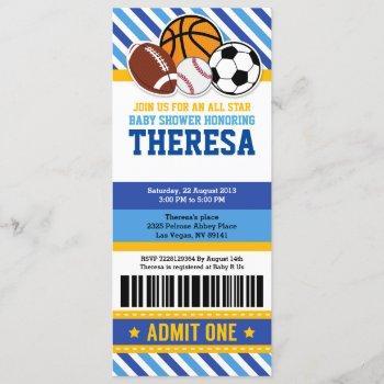 All Star Sport Ticket Pass Baby Shower