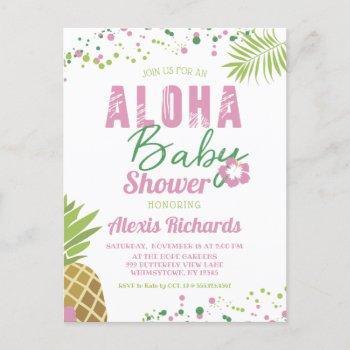 Aloha Baby Pink & Green Tropical Girl Baby Shower Invitation Postcard