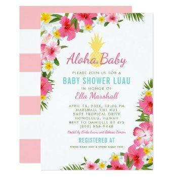 Aloha, Baby | Pink Tropical Flowers Shower Luau Invitation