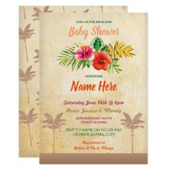 Aloha Baby Shower Luau Tropical Vintage Invite