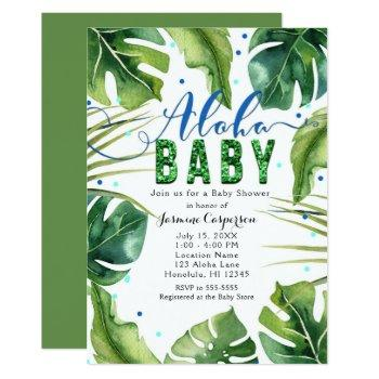 Aloha Baby Shower Tropical Leaves Blue Green Invitation