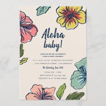 Aloha Hawaiian Flowers Baby Shower Invitation