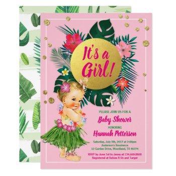 Aloha Luau Baby Girl Shower Invitation Pink Gold