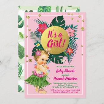 Aloha Luau Baby Girl Shower Invitation Pink Gold