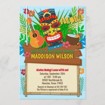 Aloha Luau Hawaiian Tropical Baby Shower Invitation