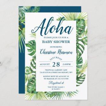 Aloha Tropical Greenery Blue Baby Shower