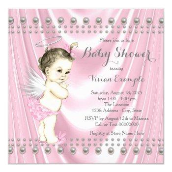 Angel Baby Satin And Pearl Baby Shower Invitation