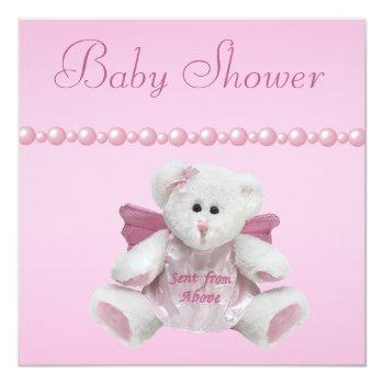 Angel Teddy, Baby Shoes & Pearls Baby Shower Invitation