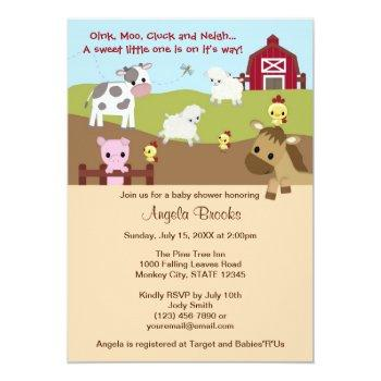 Animal Acres Farm Animal Baby Shower Neutral Aak Invitation