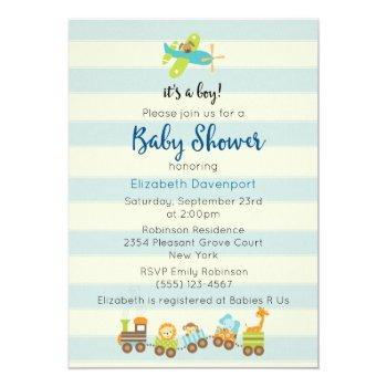 Animal Toy Train And Airplane Baby Boy Shower Invitation