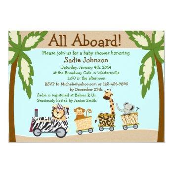 Animal Train Baby Shower Invitation