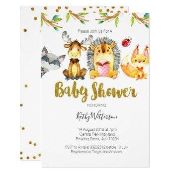 Animal Woodland Creatures Baby Shower Invite