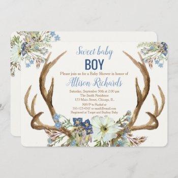 Antler Boho Rustic Baby Shower Invitation Boy