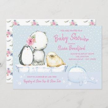 Arctic Friends Winter Baby Shower Invitations