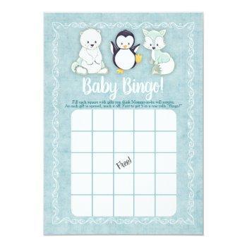 Arctic Winter Animals Baby Shower Bingo Game Invitation