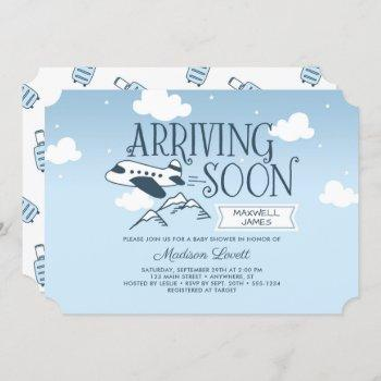 Arriving Soon:  Airplane Baby Shower Invitation