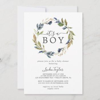 Autumn Greenery It's A Boy Baby Shower Invitation