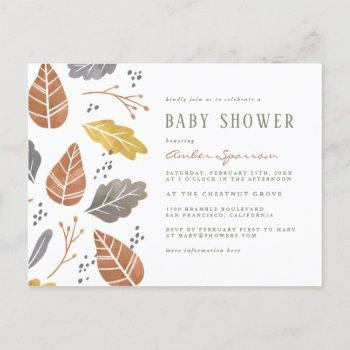 Autumn Leaves Mustard Fall Baby Shower Invitation Postcard