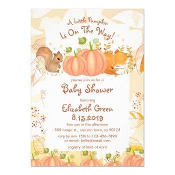 Autumn Pumpkin Woodland Baby Shower Invitations