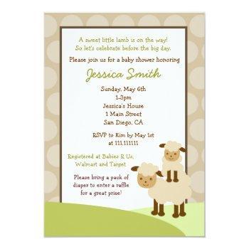Baa Baa Sheep Baby Shower Invite Neutral