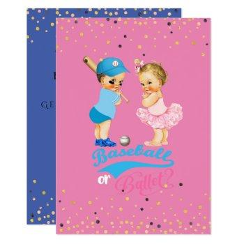 Babies Baseball Or Ballet Gender Reveal Invitation